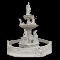 Garden Freestanding marble stone fountain with pool, china marble sculpture supplier Manufactures