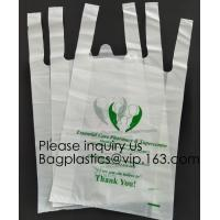 Supermarket Bio-Degradable Compostable T Shirt Bags Thank You Tote Perfect For Business. Best Bulk, Heavy Duty Manufactures