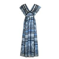 Bohemian Printed Chiffon Summer Dresses / Ruffled Lace Side Long Holiday Dresses Manufactures