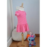 Bow Neck  Girls Pink And White Striped Dress , Young Girls Party Dresses Elastic Waist Manufactures