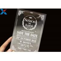 Buy cheap Laser Cut Acrylic Wedding Invitation Cards / Mirror Clear Invitation Card from wholesalers
