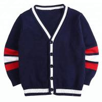 Buy cheap Long Sleeve Breathable School Uniform Cardigan , Navy Blue Sweater For School from wholesalers