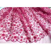 Colored Handmade 3D Flower Lace Fabric , Scalloped Embroidered Mesh Lace Fabric Manufactures