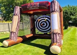 Interactive Inflatable Battle Axe Game / Inflatable Flying Axe Throwing Challenge Carnival Game Manufactures