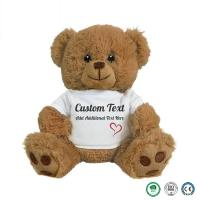 China 20cm wearing teddy bear plush toys and white T-shirt bear clothes can print logo manufactures customized small batch toy on sale