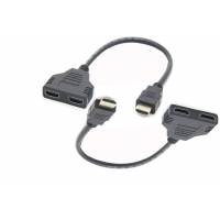 Injection Black 300mm 2 To 1 HDMI Adapter Cable Manufactures