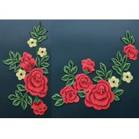 Colorful Polyester Neckline Embroidered Applique Patches / Large Embroidered Flower Patches Manufactures