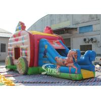 Kids Pink Princess Carriage Inflatable Bouncy Castle Slide With Lead Free Material Manufactures