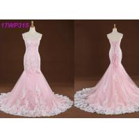 Spaghetti Straps Colored Mermaid Wedding Dresses , Sweep Train Pink Colour Wedding Gown Manufactures