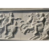 White marble relief carved by hand/ War horse stone relief Manufactures