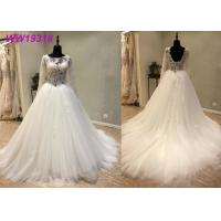 Round Neck A Line Bridal Ball Gowns With Long Lace Sweep Train Tulle Lace Beaded Manufactures