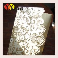 Buy cheap Elegant wedding invitations Cards , laser cut tri - fold lace flower pocket from wholesalers