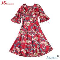 89D18026 New 15Dollor Summer Fashion V-Neck Half Sleeve Floral Print Women High Waist Beach Dress Manufactures