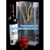 Handle Wine Bottle Paper Bags With Two Side Logo,transparent wine gift pp bag, plastic bag with handles bagplastics pac Manufactures