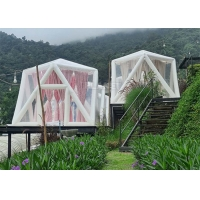 Outdoor Portable Luxury Hotel Triangle Transparent PVC Inflatable Polygon Star Lawn Tent Bubble Camping Tent Manufactures