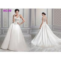 Ivory Organza V Neck Ball Gown Wedding Dress , Formal Ball Gown Prom Dresses Manufactures