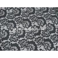 China Black Cotton Nylon Lace Fabric Simple Flower Hollow Design For Apparel SYD-0174 on sale