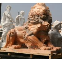 Nature Stone carving lions statue pink marble animal sculpture,stone carving supplier Manufactures
