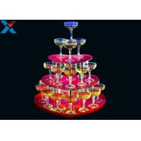 Party Acrylic Wine Rack , 3 Layers Acrylic Champagne Tower For Wedding Manufactures