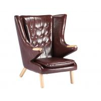 Living Room Leather Lounge Chair / Papa Bear Chair Soft Feeling With Ottoman Manufactures