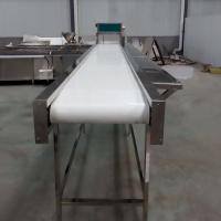 Buy cheap White Food Grade Adjustable Roller Conveyor Customized Size With Rubber Belt from wholesalers