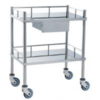 Movable Medical Clinical Trolley Stainless Steel With Two Shelves And One Drawer Manufactures