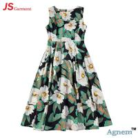 89D18024 New Design Fashion Casual Beach Floral Round Sleeveless Midi Women Dress Manufactures