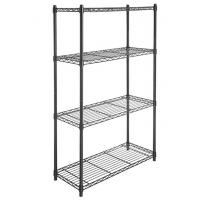 4 Tier Carbon Steel Adjustable Mobile Metal Display Racks , Black Powder Coating Easy Assembly  Metal Shelf with Casters Manufactures