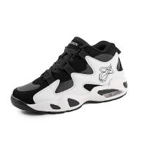 Black And White High Ankle Basketball Shoes Anti Slippery Thickened Sole Manufactures