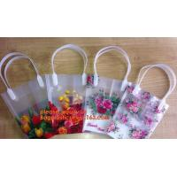PP Trapezidal Rectangular Flower Package Bags,PP Flower Plastic Carry Bag with Tube Handle,flower pot bag printing PP pl Manufactures