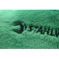 Green Rectangle Custom Embroidered Patches On Velvet Fabric For Luggage Manufactures