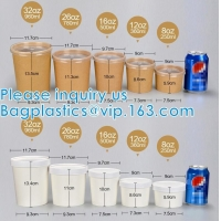 Eco Friendly Disposable Takeaway Food Container Kraft Paper Noodle Bowls Hot Soup Cup With Paper Flat Lid Manufactures