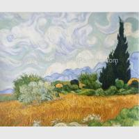 China Handmade Vincent Van Gogh Oil Paintings Reproduction Wheat Field with Cypresses on sale