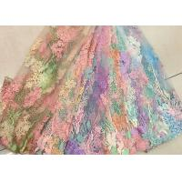 3D Beaded Lace Fabric , Scalloped Multi Color Floral Embroidered Fabric For Skirt Manufactures