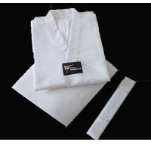 High quality Cotton White collar Taekwondo uniform for kids taekwondo suits Manufactures