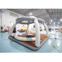 Inflatable Water Floating Mat Island With Roof Tent Inflatable Aqua Banas Water Tent For Leisure Time Manufactures