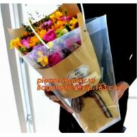 Customized PP plastic transparent flower carry bags with hanging,Eco-friendly Recyclable flower bag transparent pp bag f Manufactures