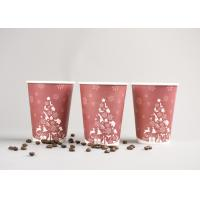 Recyclable 12oz Disposable To Go Coffee Cups With Plastic Cover , Red Color Manufactures