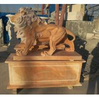 Garden decoration Nature Stone walking lions statue pink marble animal sculpture,stone carving supplier Manufactures