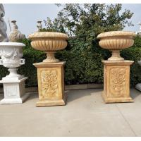 Marble statue planter stone carvings flowerpot sculpture,outdoor stone garden products supplier Manufactures