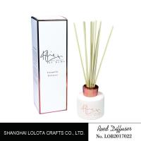 White Painting Round Bottle Home Reed Diffuser With Simple Folding Box Manufactures