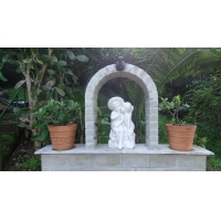 Outdoor park stone white fountain,white marble garden carving water fountain ,China stone carving Sculpture supplier Manufactures