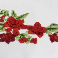 34*18 CM Red Flower Embroidered Applique Patches For DIY Dress Decorative Manufactures