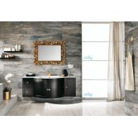 High Level All Wood Vanity , Black Wood Bathroom Vanity With White Marble Countertops Manufactures
