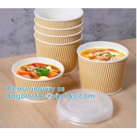 Salad Cup, Soup Cup, Salad Bowl, Soup Bowl, Large Capacity Disposable Kraft Paper Bowl With Paper Lid Eco Takeaway Food Manufactures
