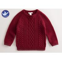 Multi Cable Knitting Girls Long Sleeve Sweaters , Girls Red SweaterSide Slit Manufactures