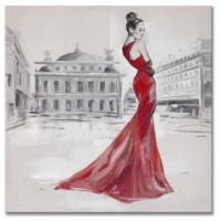 China 100% high quality hand-painted oil painting on canvas red dressing lady size in 60X60CM on sale