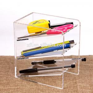 3 Tier Acrylic Shop Display Pen Holder Acrylic Stationery Shelf Display Rack Customized Logo Manufactures