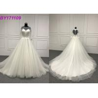 Lace Scoop Simple Ball Gown Wedding Dresses , Appliques Long Sleeve Ball Gowns Manufactures