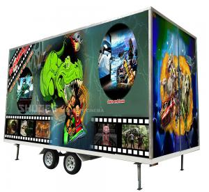 Flexible Mobile 5D Cinema With Trailer And 12 Red Motion Electric Seats Manufactures